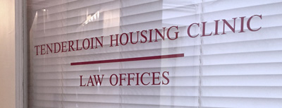 Photo of the front door to the Tenderloin Housing Clinic Law Offices.